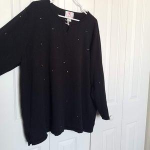 Quacker Factory Sweater with Rhinestone Bling